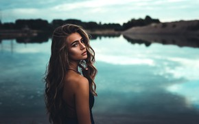 Picture look, girl, nature, pose, river, hair, the evening, shoulder, anna, D. G Photography