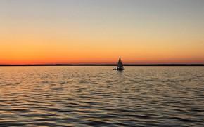 Picture sea, coast, boat, morning, sail