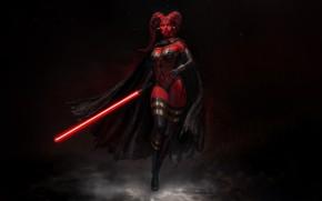 Picture Girl, Star Wars, Style, Girl, Sword, Dark Side, Fantasy, Cloak, Lightsaber, Art, Art, Sith, Style, …