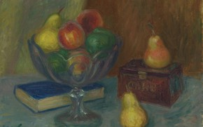 Picture picture, book, vase, fruit, William Glackens, William James Glackens, Still life with Japanese Box