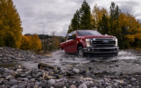Picture clouds, trees, squirt, stream, stones, Ford, pickup, Super Duty, F-250, King Ranch, 2020, 2019, F-series