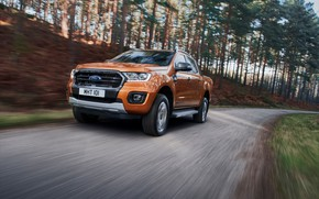 Picture road, machine, forest, trees, movement, lights, Ford, turn, pickup, Ranger Wildtrak