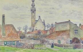 Picture figure, watercolor, 1896, the urban landscape, Theo van Rysselberghe, Theo van Reysselberge, Faith