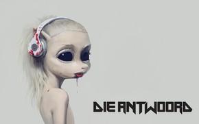 Picture girl, blood, headphones, Die Antwoord, Visser Was Yolan