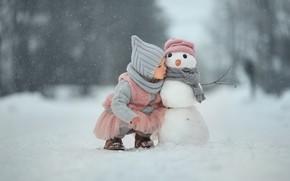 Picture winter, snow, girl, snowman, friends, secret