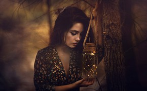 Picture garland, Bank, face, tree, lights, brunette, girl, long-haired, branches, dress, portrait, the dark background, light, …