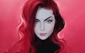 Picture Girl, Look, Lips, Face, Hair, Pink, Eyes, Art, Illustration, Portrait, Curls, by Rodney Amirebrahimi, Rodney …
