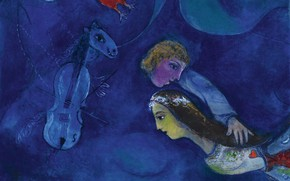 Picture 1944, RED ROOSTER IN THE NIGHT, MARC CHAGALL