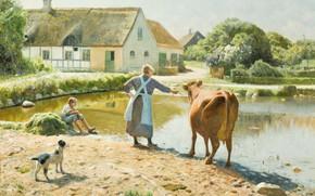 Wallpaper Peder Mørk Mønsted, Peter Merk Of Menstad, The cow refuses to drink, Danish painter, The ...