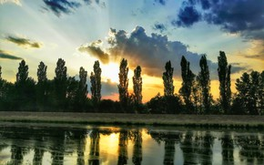 Picture river, sunset, sun, clouds sky
