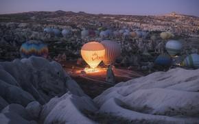 Picture landscape, nature, balloons, morning, Turkey, Cappadocia, tuff