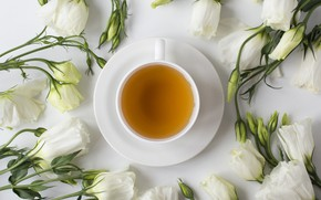 Picture flowers, tea, Cup
