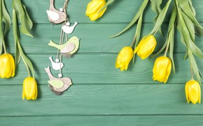 Picture green, background, tulips, birds, composition