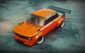 Picture Auto, Retro, BMW, Machine, Tuning, Boomer, Style, Orange, Car, 2002, Rendering, BMW 2002 Turbo, BMW …