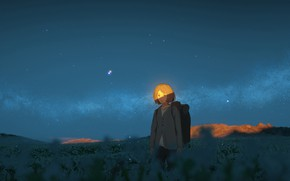 Picture field, the sky, girl, night, backpack