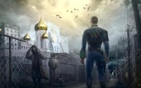 Picture The city, Church, Birds, Apocalypse, Russia, Fallout, Art, Art, Russia, 111, Postapocalypse, by Alexander Linblack, …