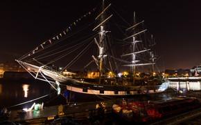 Picture sea, night, ship, Marina, sailboat