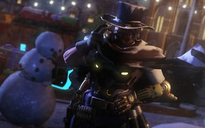 Picture winter, night, new year, hat, glasses, cigar, snowman, cowboy, Overwatch, mccree, Jesse McCree