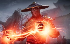 Picture red, game, lightning, fighting, Raiden, god of thunder, screenshot, NetherRealm Studios, 2019, Mortal Kombat 11
