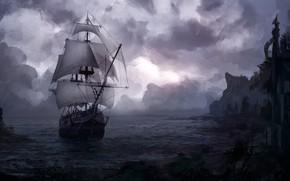 Picture The ocean, Sea, Shore, Ship, Clouds, Landscape, Illustration, Sea, Ship, Arrival, Arrival, Nikita Bubriak, Arrival …
