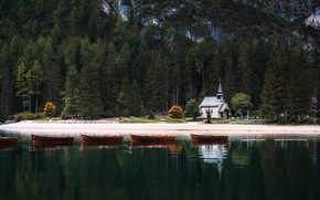Picture forest, mountains, shore, boats, Italy, Church, lake Braies, Alessandro laurito