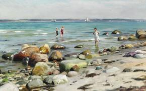 Picture Danish painter, 1921, Peter Merk Of Menstad, Peder Mørk Mønsted, Danish realist painter, Young women …