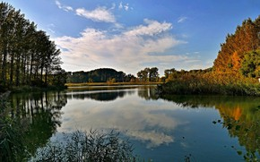 Picture autumn, the sky, water, trees, river
