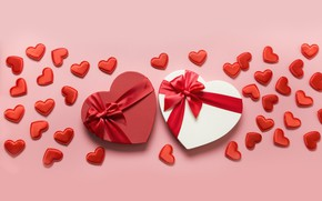 Picture background, holiday, box, hearts, Valentine's day