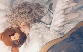 Picture angel, bear, sleeping, girl