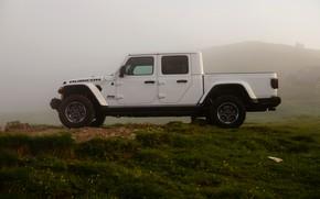 Picture white, SUV, pickup, Gladiator, 4x4, in profile, Jeep, Rubicon, 2019