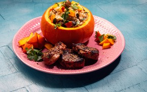Picture photo, meat, pumpkin, figure, vegetables