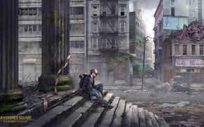 Picture the city, devastation, steps, guy, post-Apocalypse