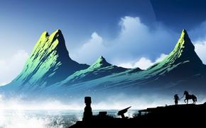 Picture Mountains, Horse, Japan, People, Silhouette, Japan, Samurai, Landscape, Coast, Samurai, Kvacm, by Kvacm, Aquarius Ruins, …