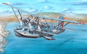 Picture in flight, Br.521, French reconnaissance flying boat, Breguet