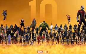 Picture collage, actors, Superheroes, characters, Marvel, superheroes, yellow background, 10 Year
