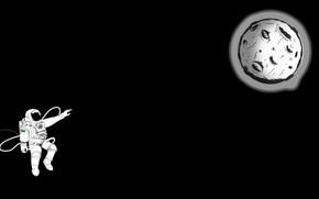 Picture Moon, minimalism, digital art, artwork, black background, situation, astronaut, spacesuit, simple background, hemlmet