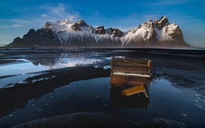 Picture mountains, music, shore, piano