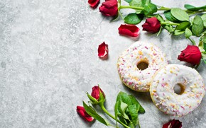 Picture roses, petals, donuts