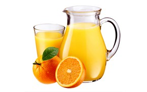 Picture drops, glass, oranges, juice, white background, pitcher, fruit, wet