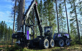 Picture forest, the sky, trees, tree, cabin, wheel, logging, forestry equipment, harvester, the arrow of harvestr, …