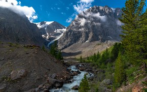 Picture the sky, clouds, snow, trees, mountains, nature, rocks, river