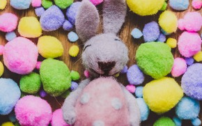 Picture balls, smile, background, toy, the game, hare, positive, yellow, rabbit, green, pink, Bunny, colorful, lilac, …
