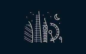 Picture moon, minimalism, stars, London, London Eye, digital art, Big Ben, artwork, architecture, United Kingdom, building, …