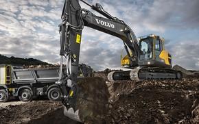 Picture sand, Volvo, excavator, truck, the ground, quarry, crawlers, dump truck, construction equipment, the excavator boom, …