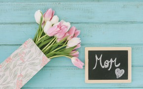 Picture flowers, bouquet, background, tulips, white, blue, pink