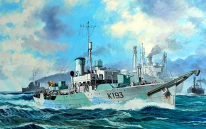 """Picture UK, British ship of the type """"flower"""", His Majesty's Ship Buttercup, HMS Buttercup"""