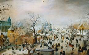 Picture oil, picture, 1609, Hendrick Avercamp, Hendrick Avercamp, Winter landscape with ice entertainment