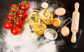 Picture eggs, vegetables, tomatoes, flour, pasta