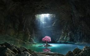 """Picture tree, fantasy, art, the grotto, Olga Antonenko, ostovar, Mattepainting for """"Klondike"""" game trailer"""