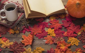 Wallpaper autumn, leaves, flowers, background, tree, coffee, colorful, Cup, book, wood, background, autumn, leaves, cup, coffee, ...